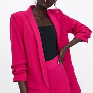 Fuchsia blazer with rolled up sleeve